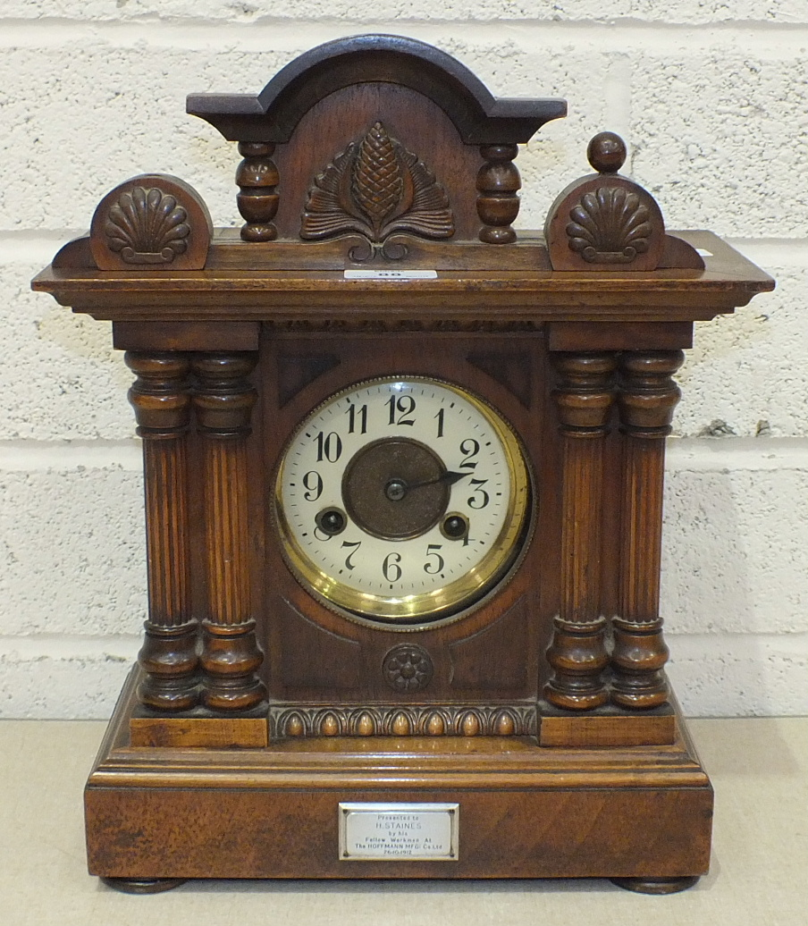 A late-Victorian inlaid mahogany mantel clock with circular enamel dial and key-wind drum - Image 2 of 2