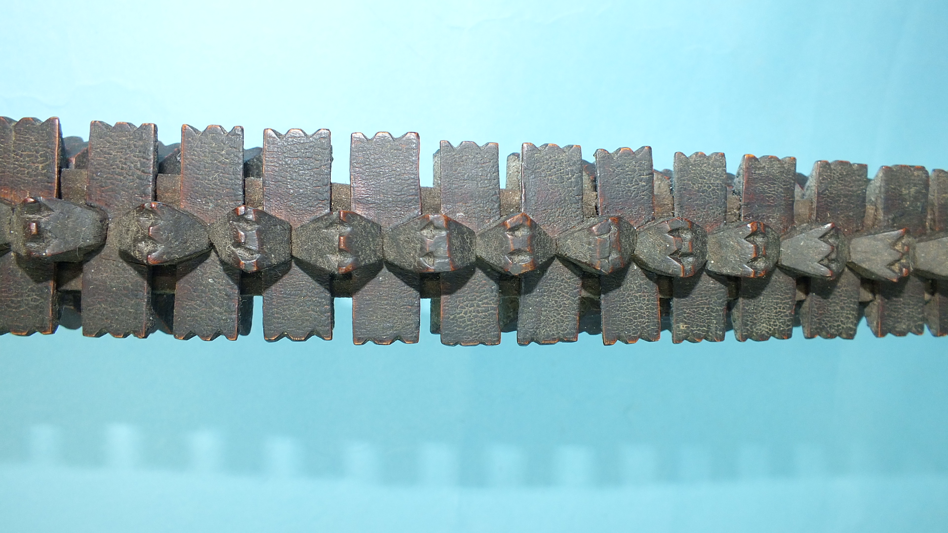 An African puzzle stick formed of individually-carved interlocking sections, 94cm long. - Image 2 of 4
