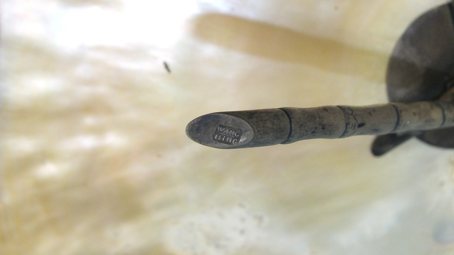 A large 19th century Chinese silver-mounted abalone shell supported by three silver 'bamboo' legs, - Image 4 of 4