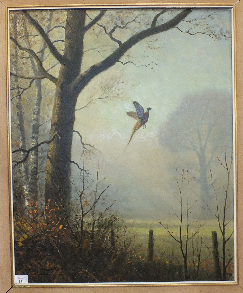 Roy Nockolds PHEASANT RISING IN THE EARLY MORNING MIST Signed oil on canvas, 67 x 54.5cm.
