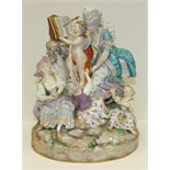 A large 19th century Meissen outside-decorated porcelain group of The Music Lesson after Acier,