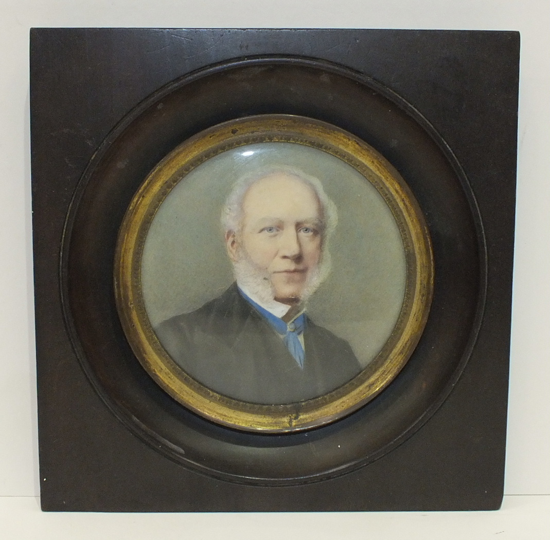 A late-Victorian/Edwardian miniature study of a gentleman 'Mr Riply, Bradford', in circular wooden - Image 2 of 5