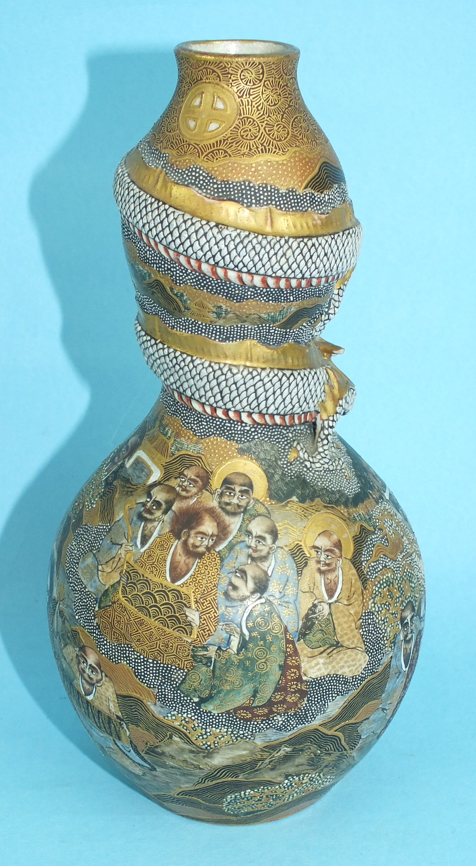 A 19th century Japanese Satsuma double-gourd-shaped vase decorated with Immortals and other figures, - Image 2 of 3