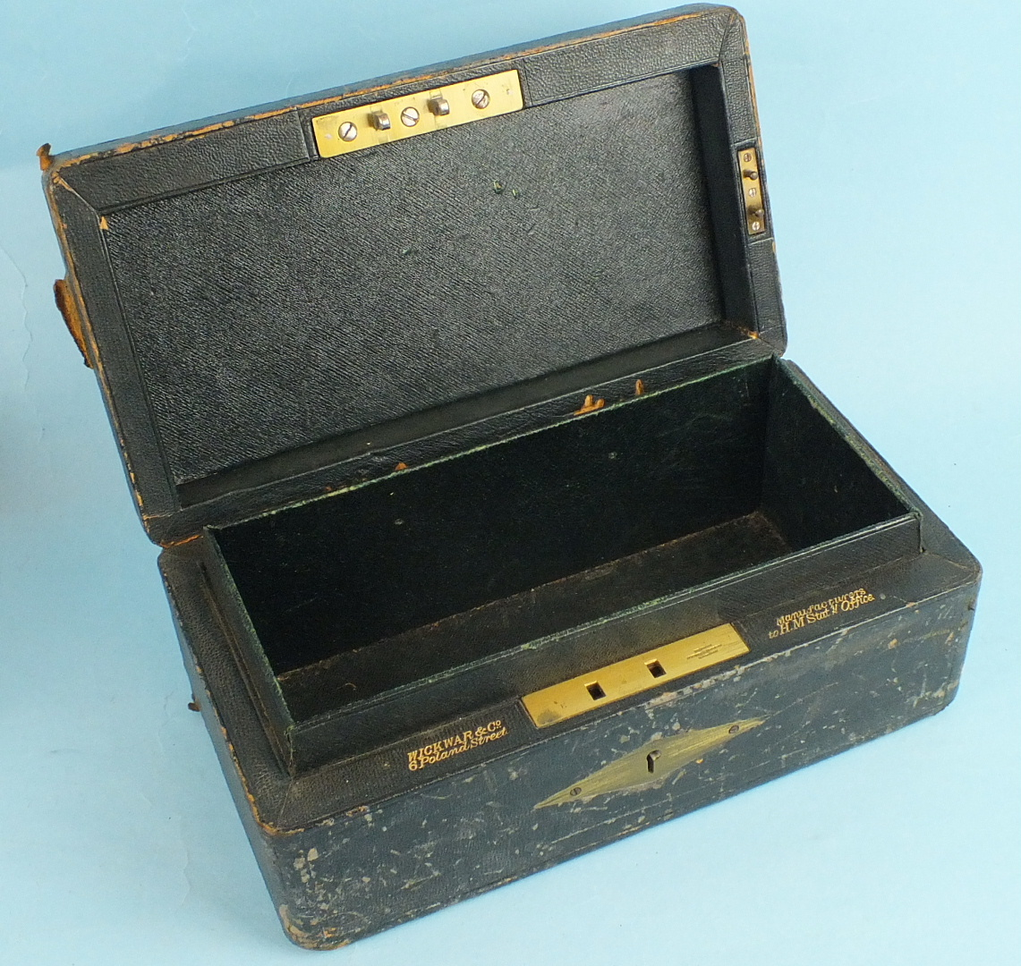 A leather-covered Privy Council Office document box, the tooled leather hinged lid with royal cipher - Image 5 of 5