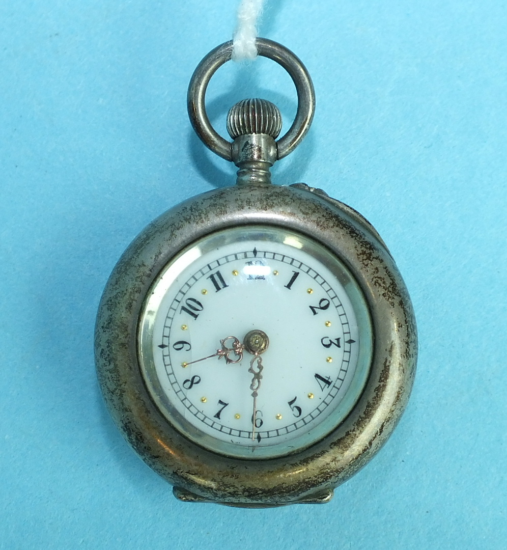 Lot 147 - A ladies French 800-silver-cased keyless pocket watch, the back enamelled with a pansy flower