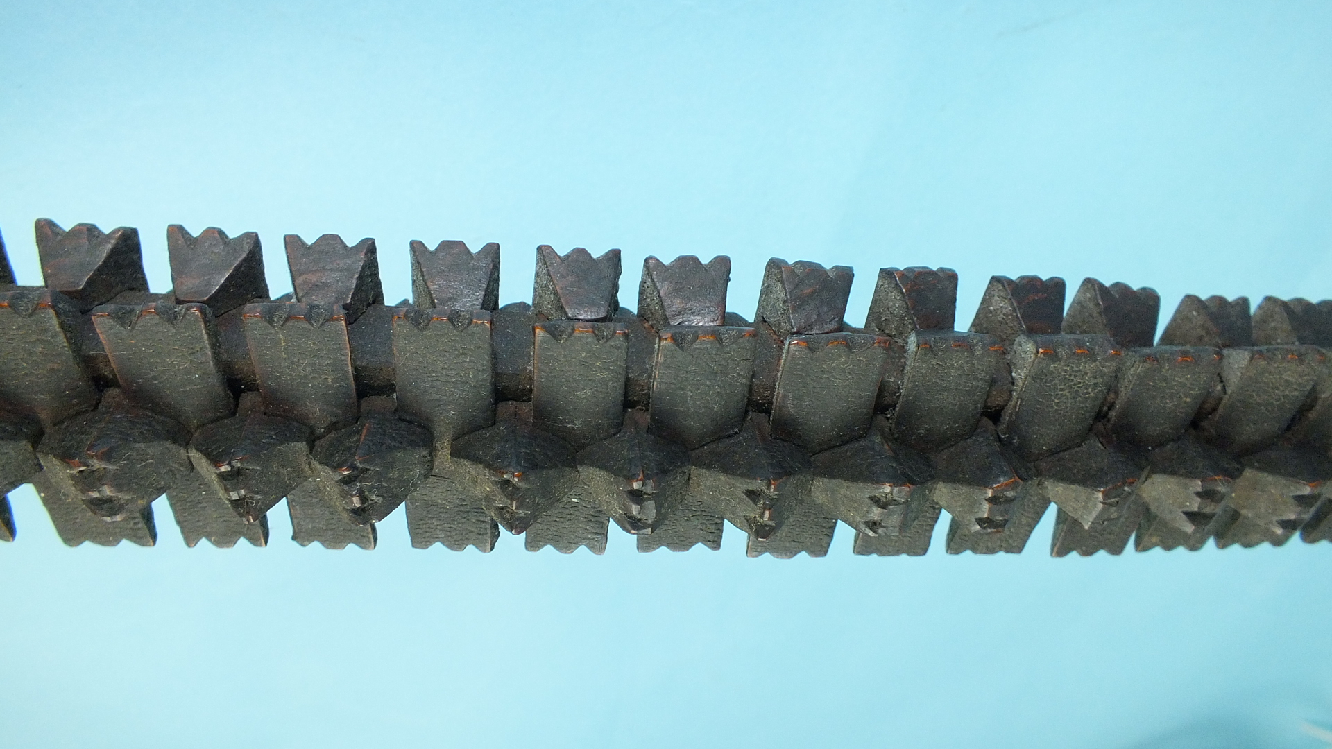 An African puzzle stick formed of individually-carved interlocking sections, 94cm long. - Image 3 of 4
