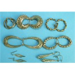 Seven pairs of 9ct gold earrings, 11.3g, (7).