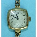 A ladies 18ct-gold-cased Centaur wrist watch on 9ct gold curb-link bracelet.