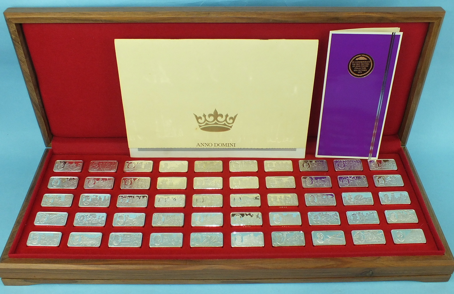Lot 439 - John Pinches Medallists Ltd, a set of fifty sterling silver ingots, '1000 Years of British
