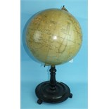 "A Philips' 12"" Terrestrial Globe on stand, no.2615, showing 'Principal Steamship Routes with"