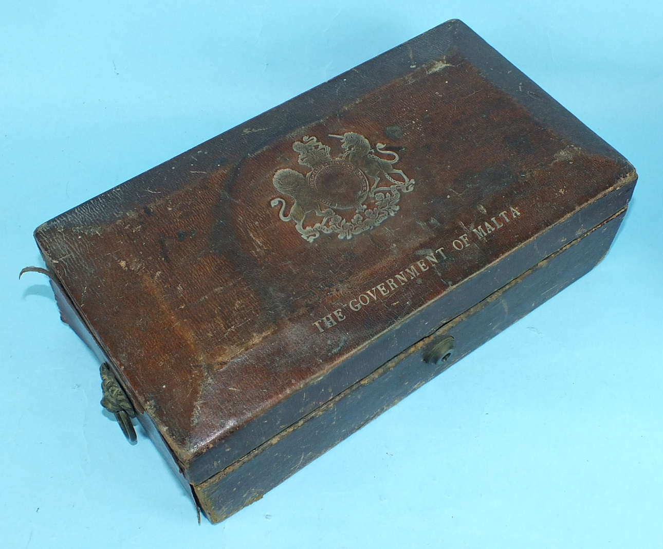 A leather-covered Privy Council Office document box, the tooled leather hinged lid with royal cipher - Image 2 of 5