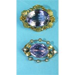 A Victorian brooch set amethyst within border of demi-pearls and another brooch set amethyst, both