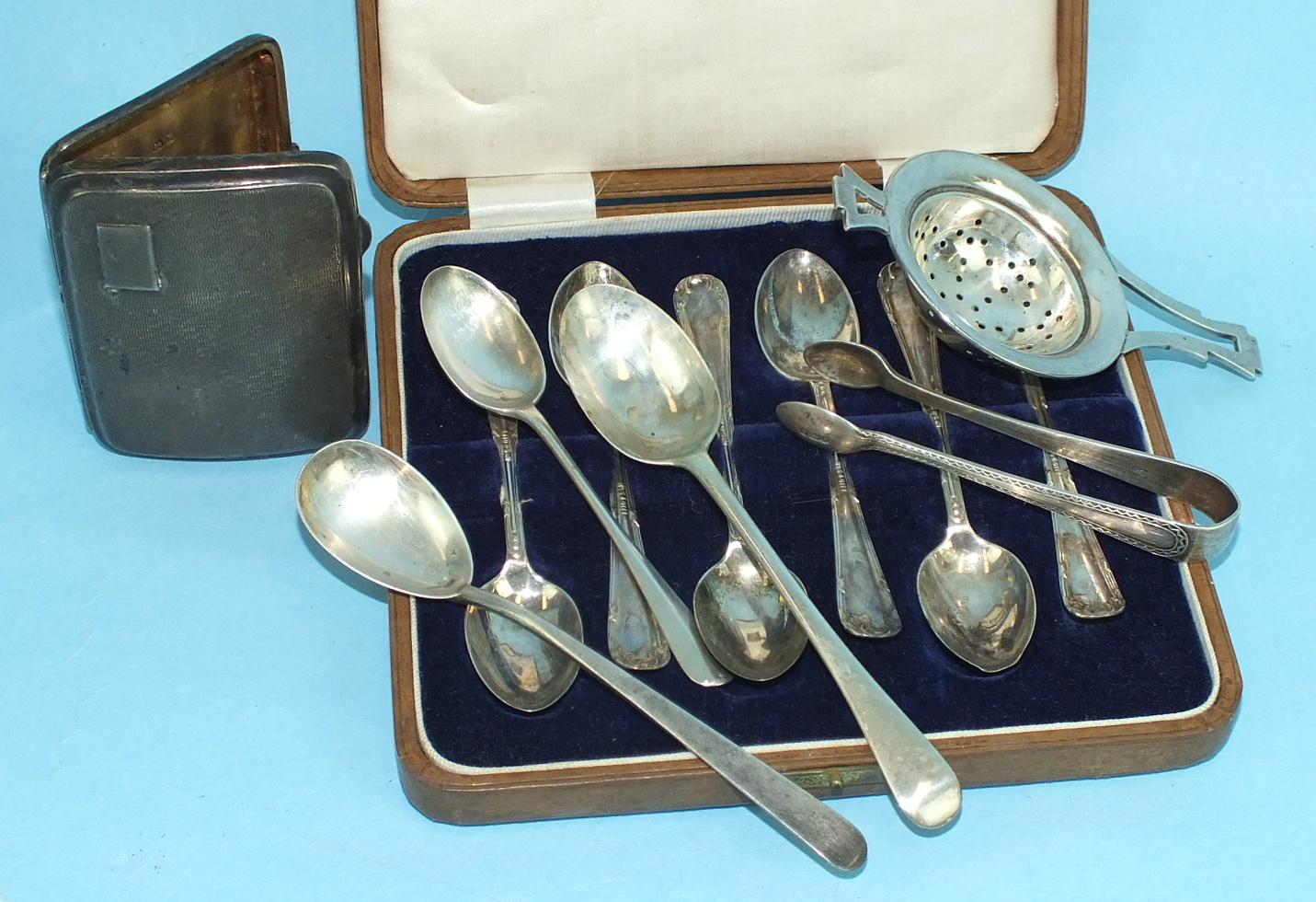 Lot 462 - Six cased silver teaspoons, Sheffield 192........., a ladies cigarette case, 8 x 6cm, Chester
