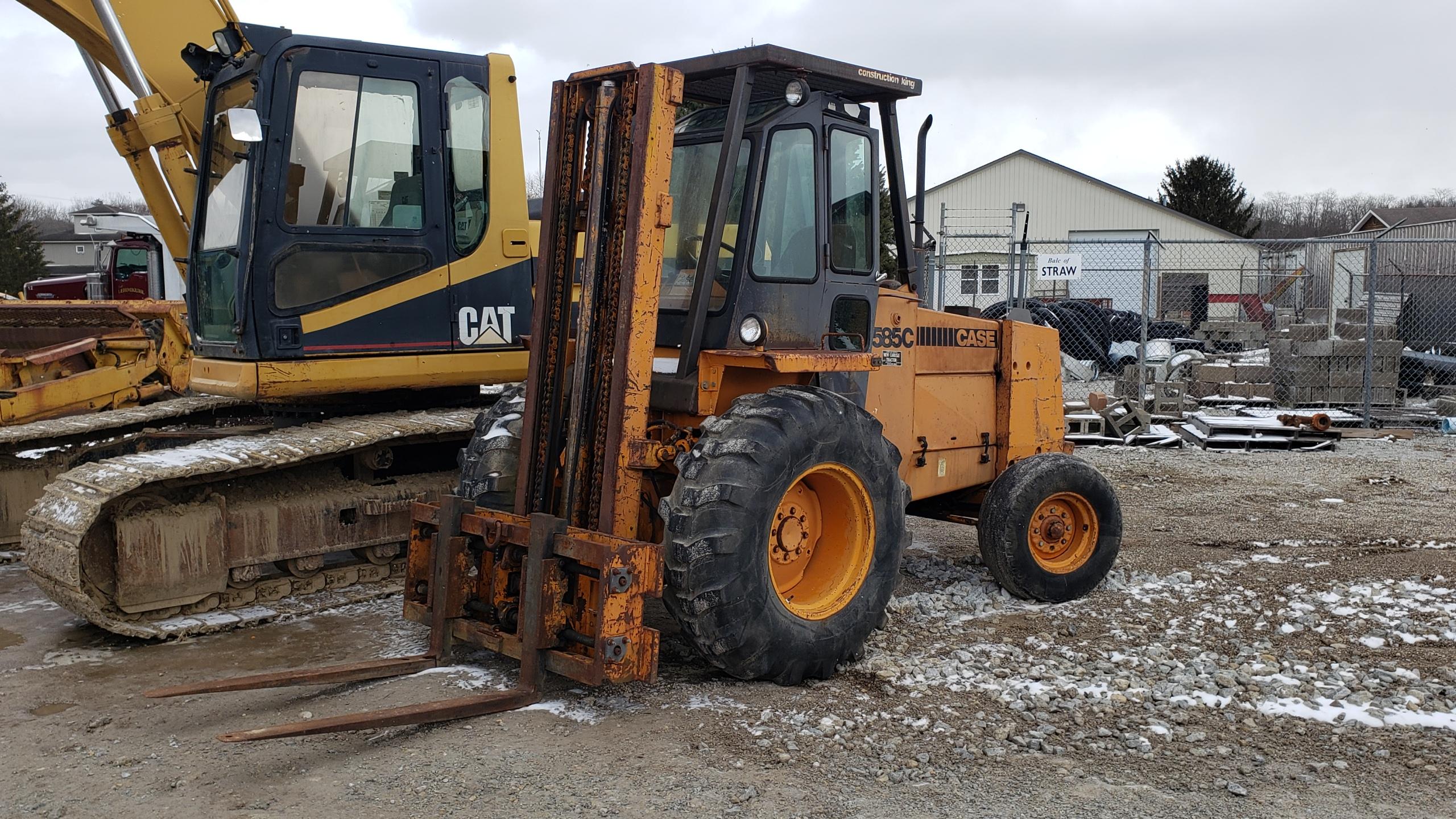 """Lot 24 - Case 585C Forklift, 6,000 lb. Cap., 2-Stage Mast,Side Shift, 6,536 Hours, Enclosed Cab, 48"""" Forks"""