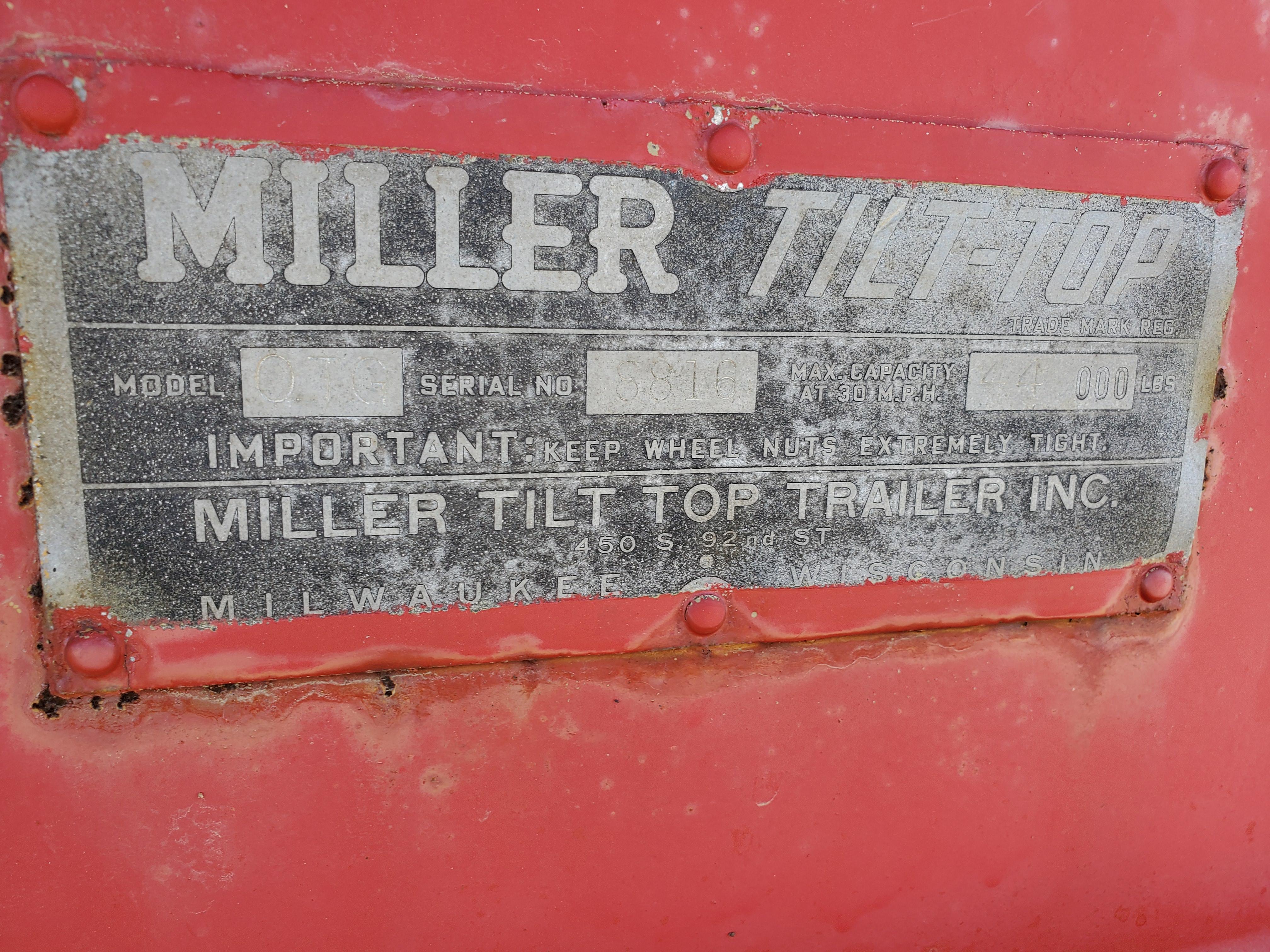 Miller Tilt Top Trailer Model OTG, s/n 8816, 22 ft. Long x 8 ft. Wide, Tandem Axle w/ Dual Wheels - Image 7 of 7