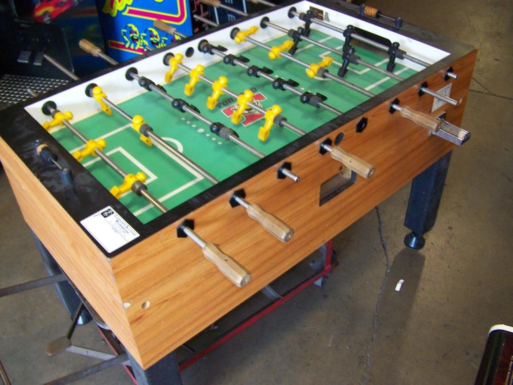 Foosball table tornado coin operated item is in used condition evidence of wear and commercial - Used tornado foosball table ...