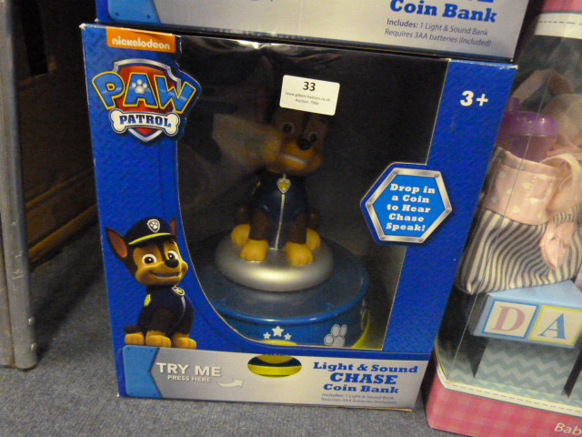 Lot 33 - *Paw Patrol Light & Sound Chase Coin Bank
