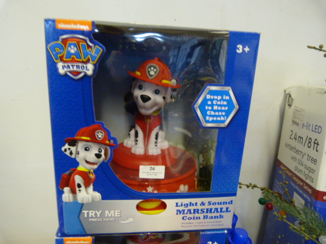 Lot 26 - *Paw Patrol Light & Sound Marshall Coin Bank