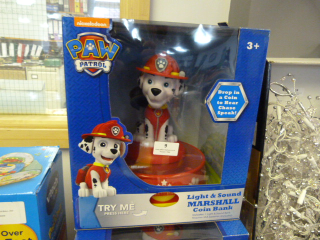 Lot 9 - *Paw Patrol Light & Sound Marshall Coin Bank