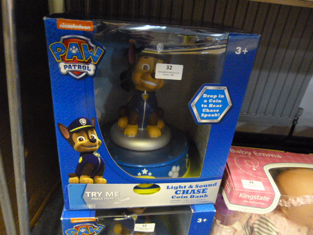 Lot 32 - *Paw Patrol Light & Sound Chase Coin Bank