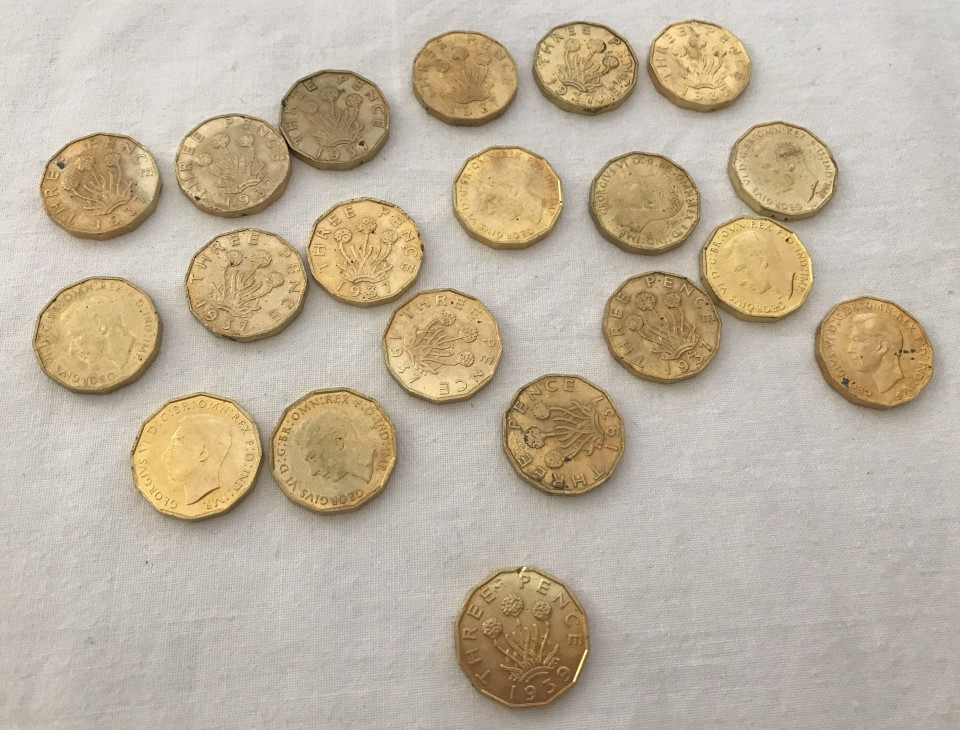 Lot 111 - 20 x 1930's George VI 3 pence coins.