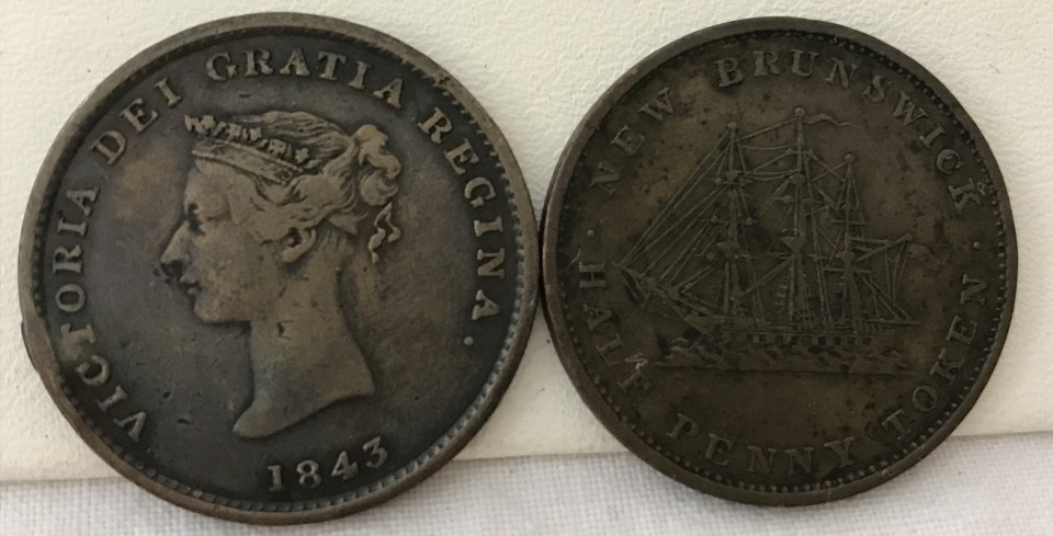 Lot 7 - 2 x 1843 Canadian New Brunswick copper half penny tokens.