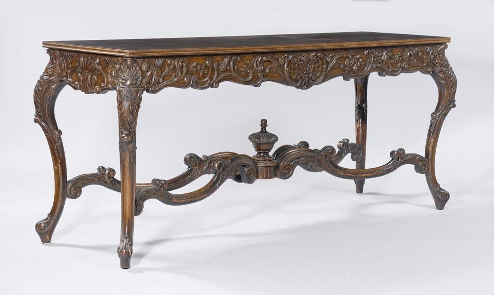 schmaler tisch barock stil nussbaum geschnitzt mit. Black Bedroom Furniture Sets. Home Design Ideas