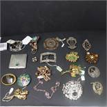 A collection of brooches, to include an Irish Gaelic silver and enamel brooch, a hallmarked silver