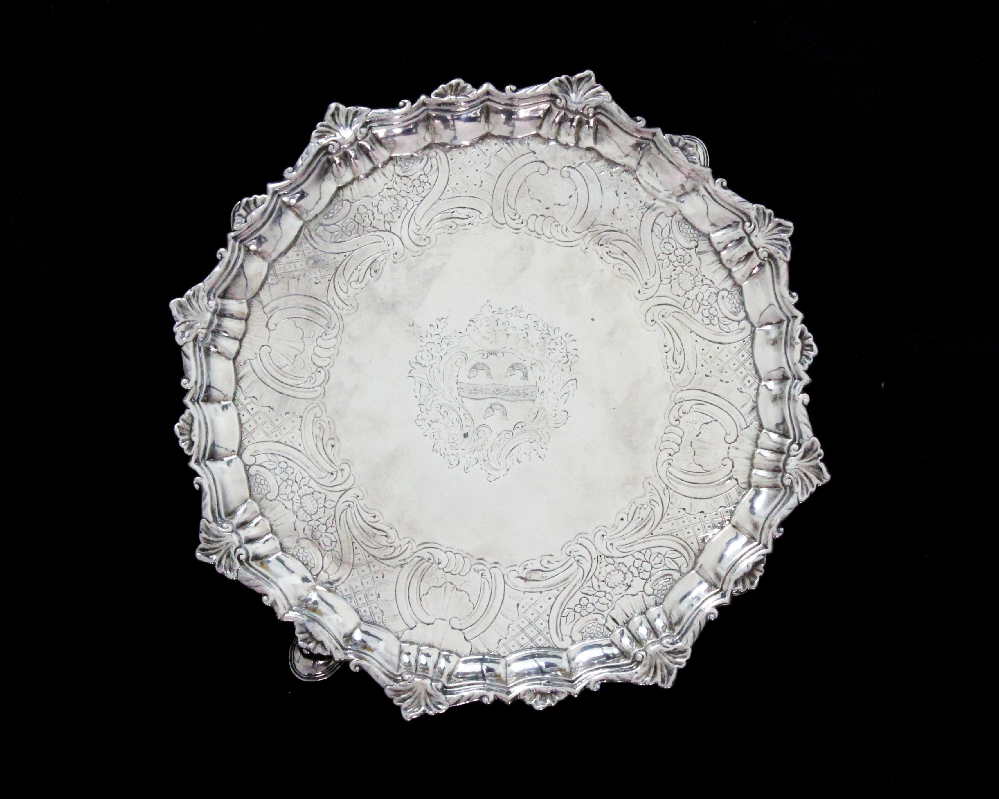 An antique George II Irish Sterling Silver salver / tray by John Laughlin, Dublin circa 1750 of