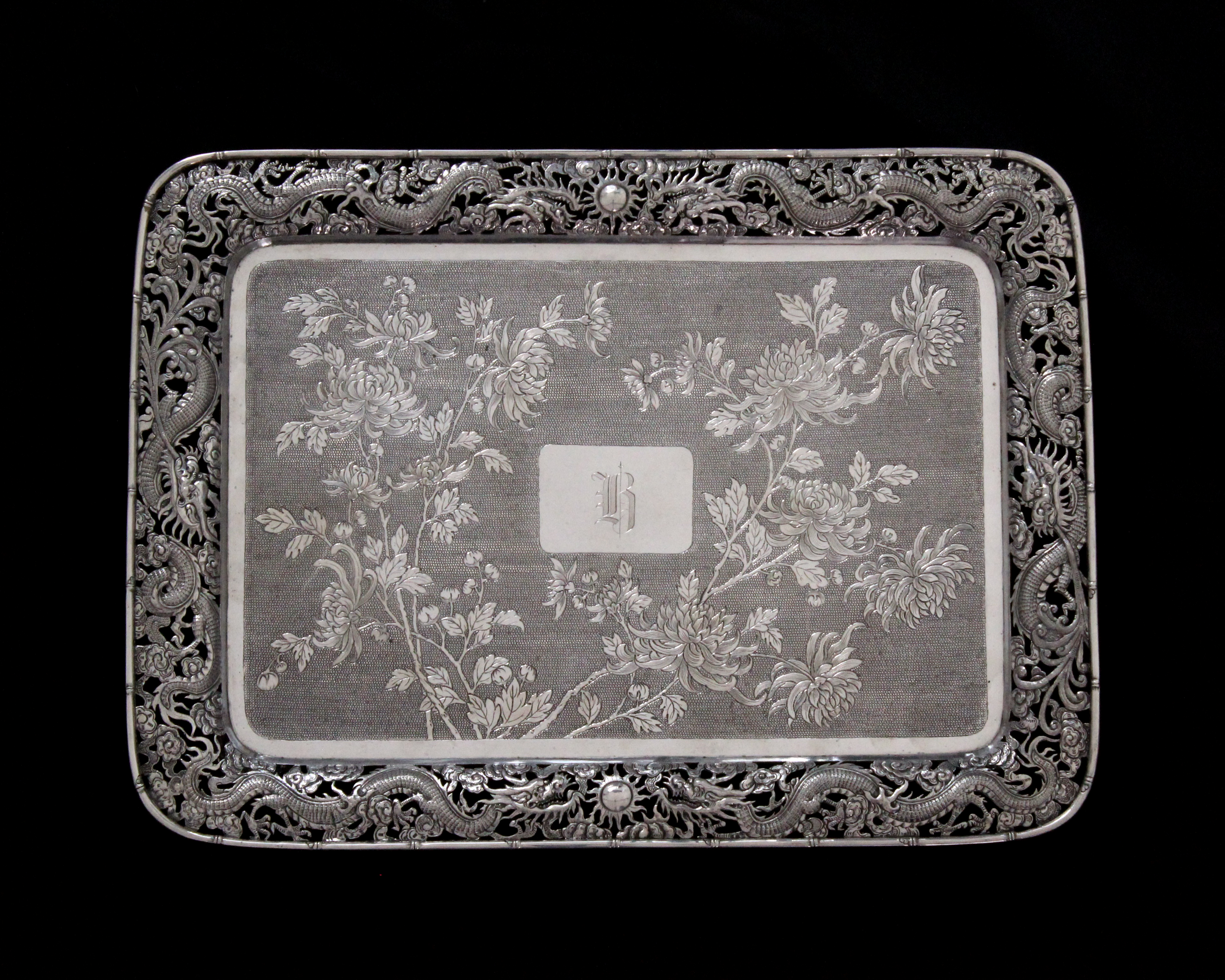 An antique late Qing dynasty Chinese Export Silver tray by Hung Chong of Canton & Shanghai circa