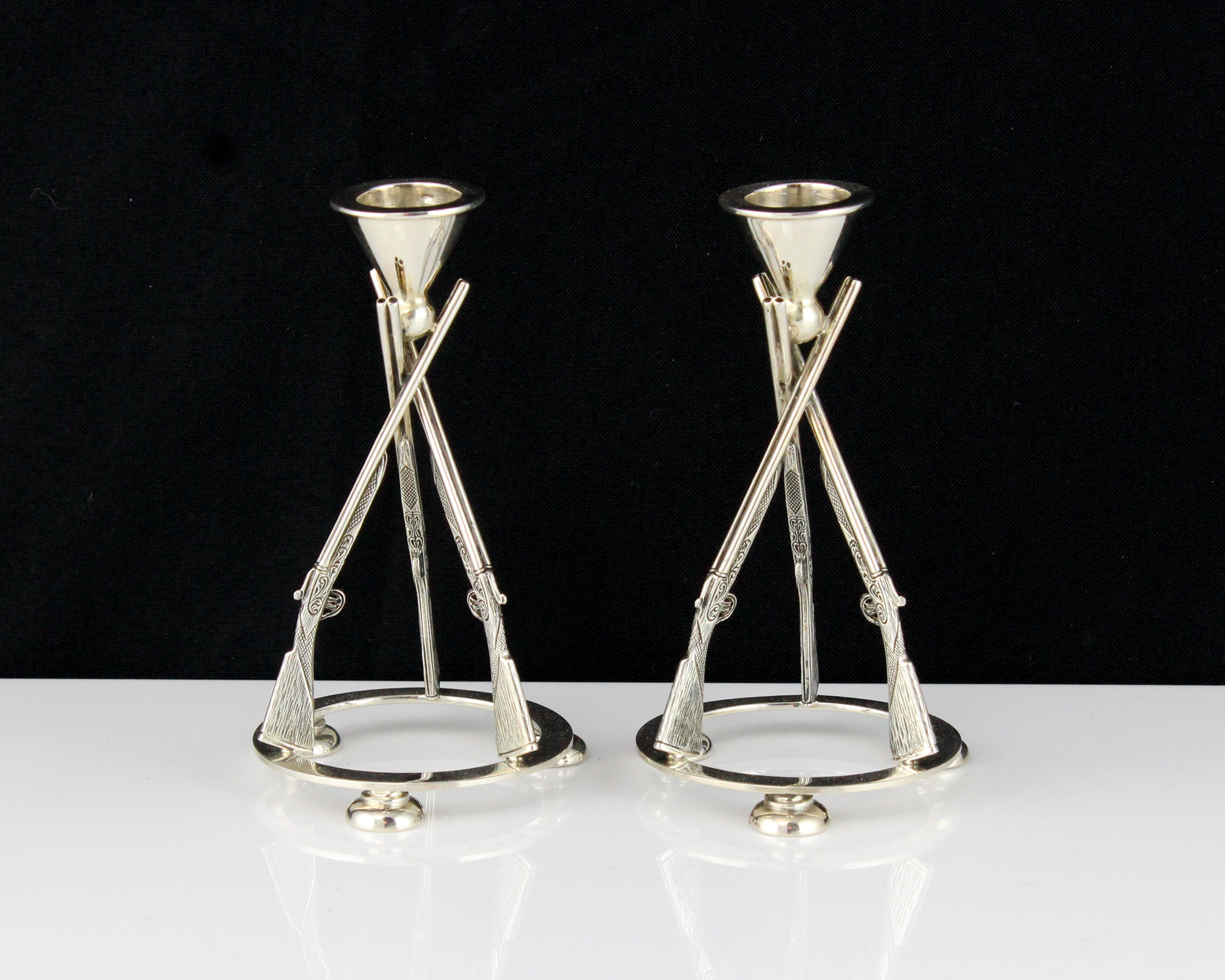 A pair of contemporary Sterling Silver rifle candlesticks by Francis Howard Ltd, Sheffield 2015 each