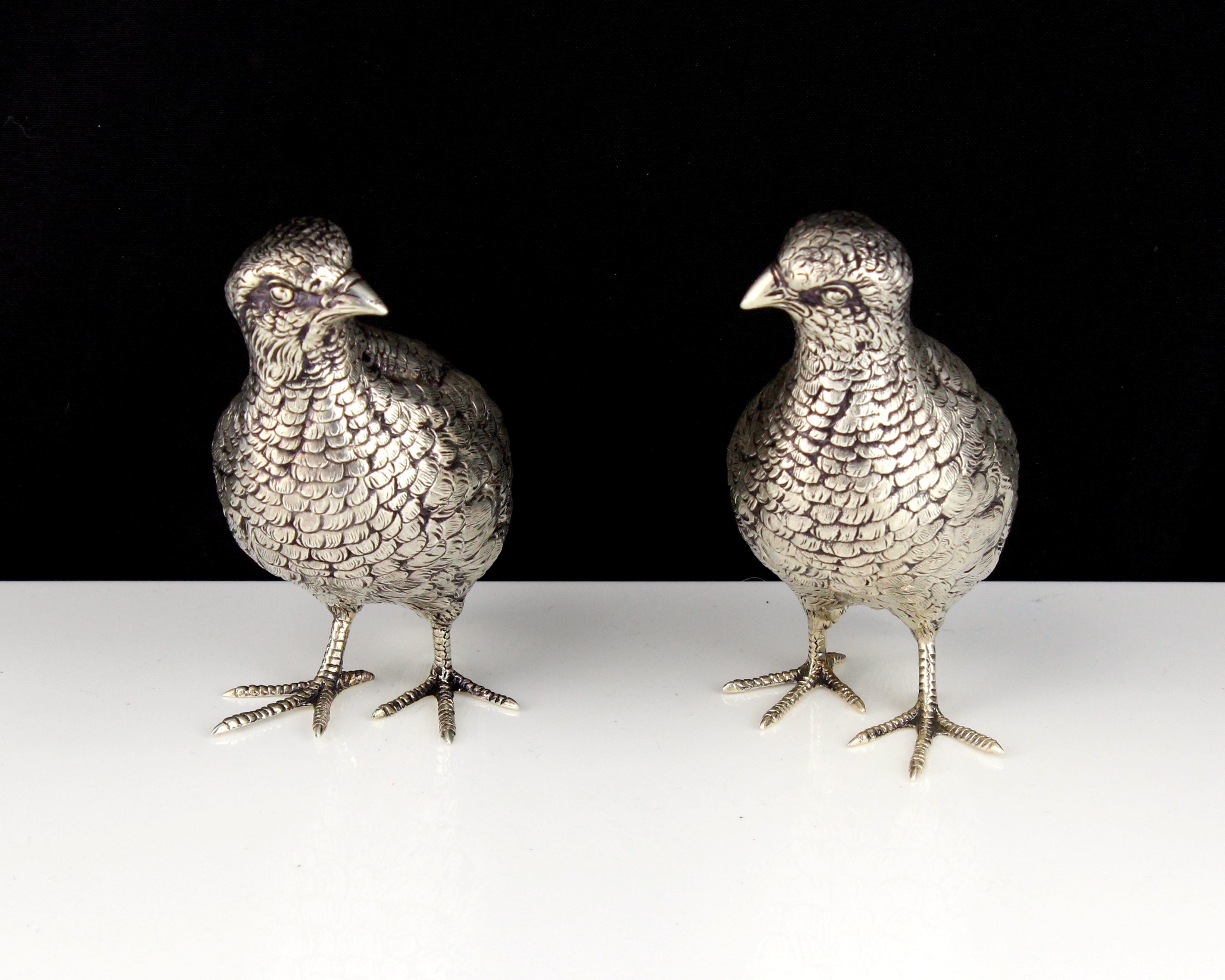 Los 39 - A pair of antique German Sterling Silver statues of grouse circa 1890 each modeled as a standing