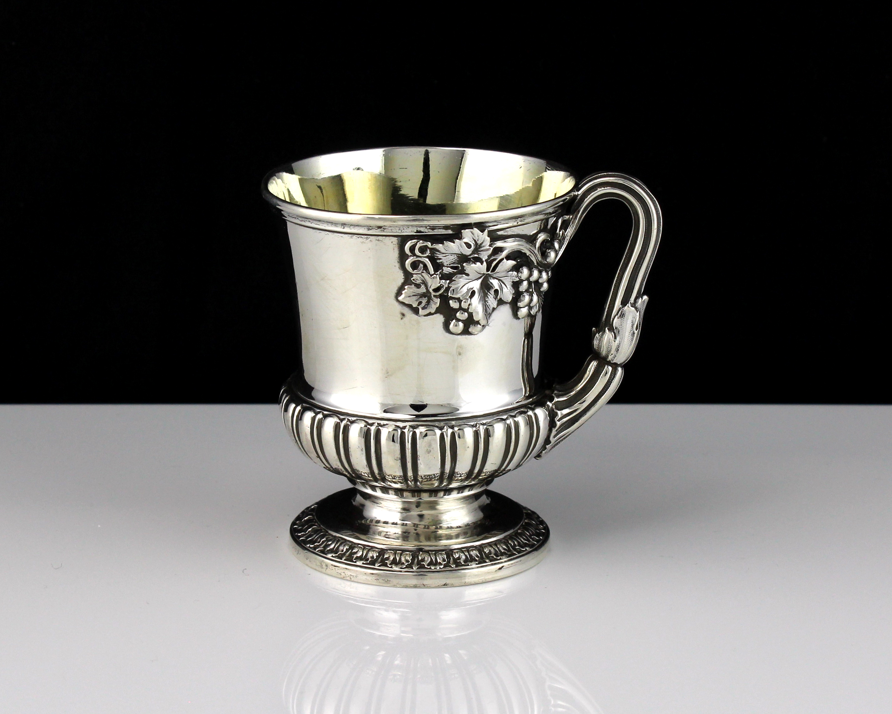 An antique George IV Sterling Silver christening cup / mug by Paul Storr, London 1826 of Campana