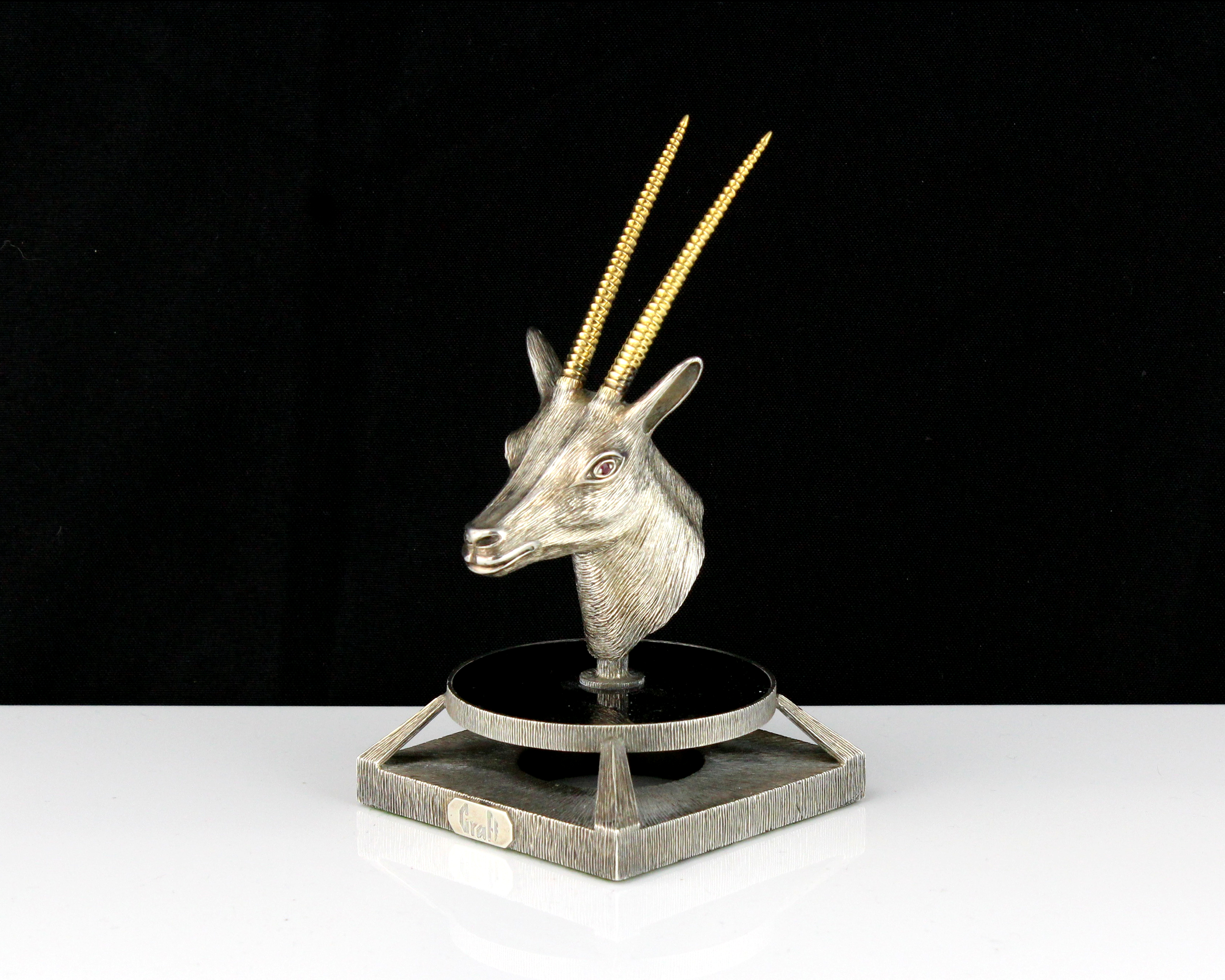 Los 75 - A jewelled silver oryx head statue signed Graff designed as the head of an oryx cast in silver