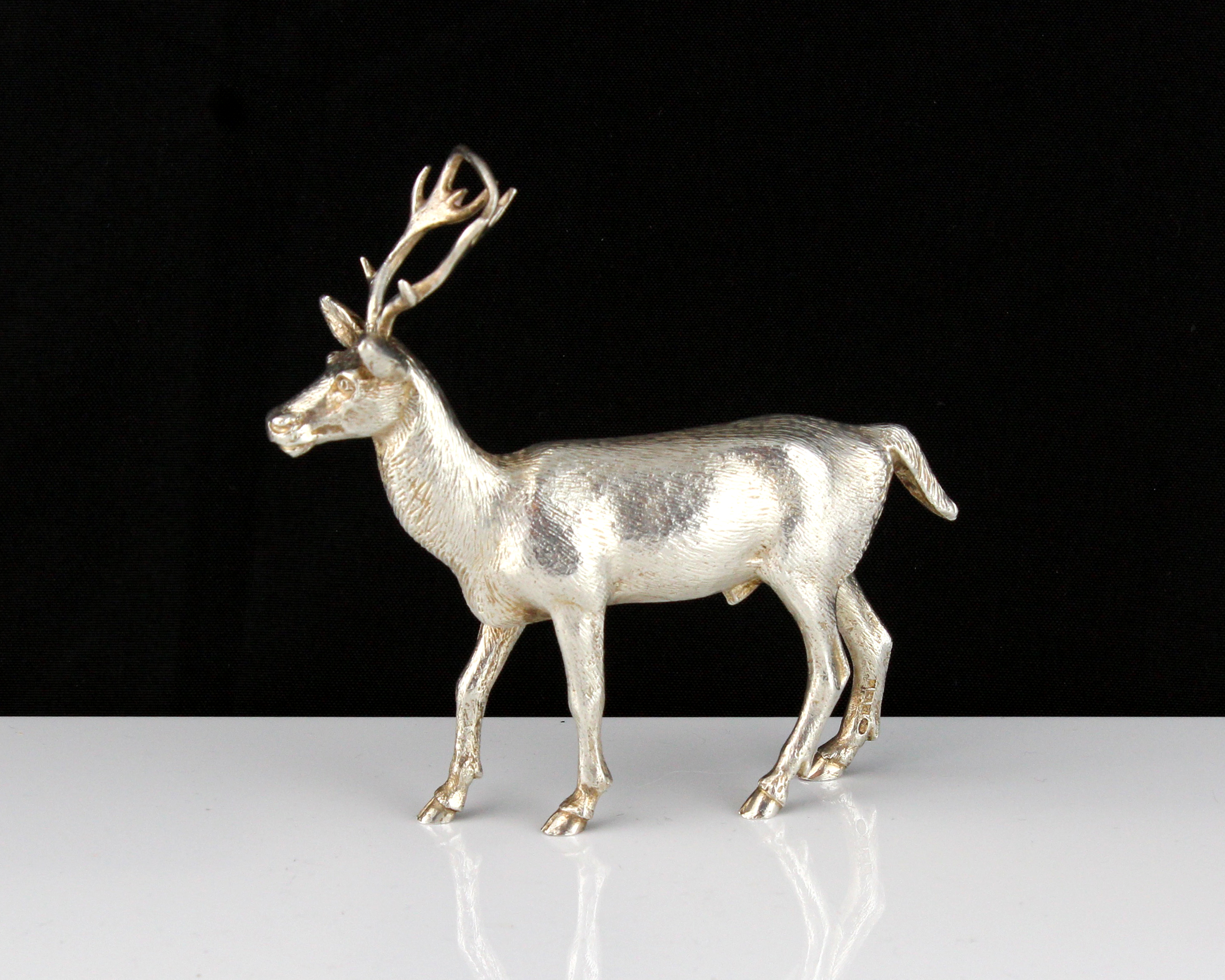 A vintage Sterling Silver statue of a stag by A E Jones, Birmingham 1973 designed to depict a stag