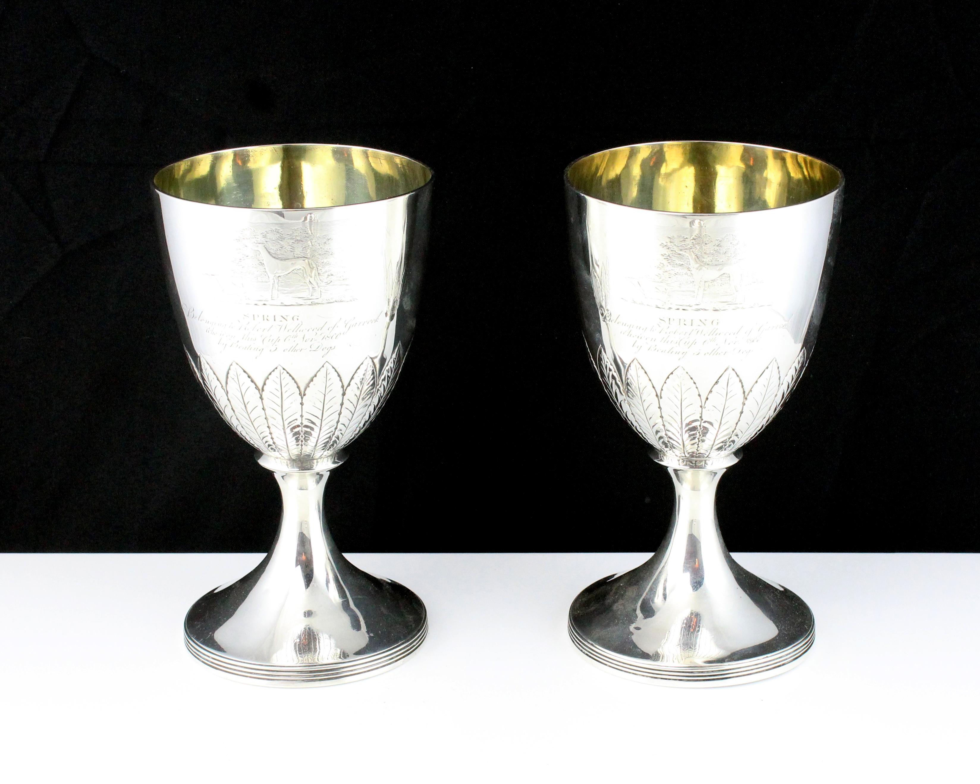 Los 57 - A pair of antique George III Scottish Sterling Silver goblets by McHattie & Fenwick, Edinburgh
