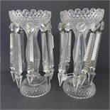 A pair of early to mid 20th century crystal lustres, H.27cm