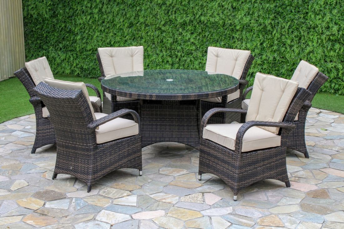 Rattan 6 Seat Round Dining Set (Brown) **BRAND NEW** - Image 2 of 2