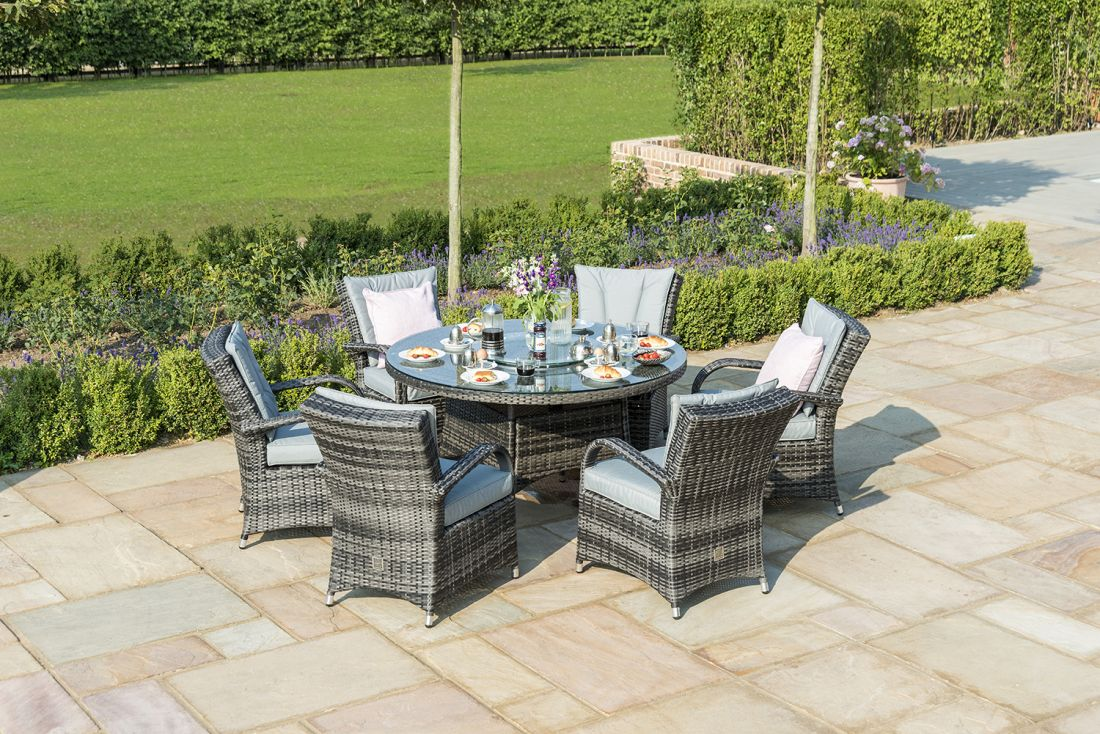 Rattan 6 Seat Round Dining Set (Grey) **BRAND NEW** - Image 2 of 2