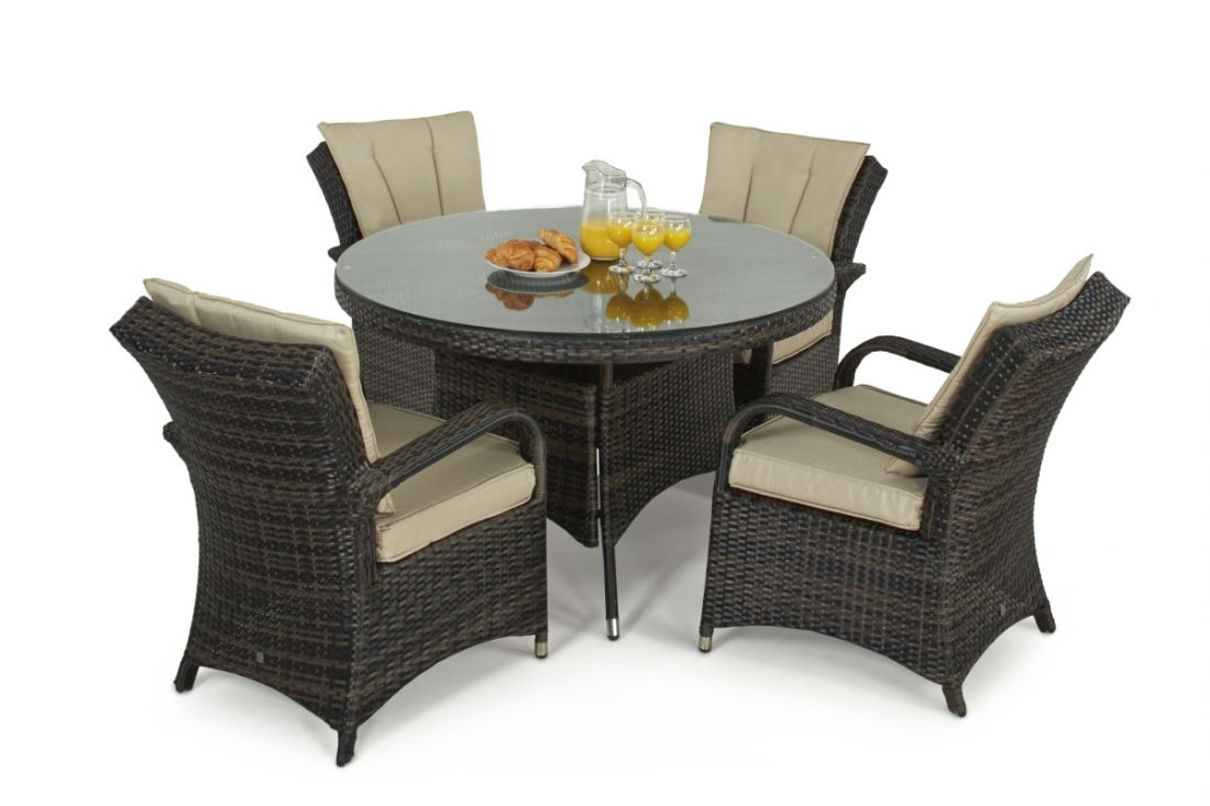 Rattan Texas 4 Seat Round Dining Set (Brown) **BRAND NEW** - Image 2 of 2