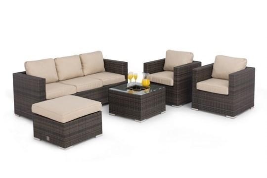 **RESERVE MET** Rattan Georgia 3 Seat Sofa Set With Ice Bucket (Brown) *BRAND NEW* - Image 2 of 3
