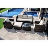 **RESERVE MET** Rattan Georgia 3 Seat Sofa Set With Ice Bucket (Brown) *BRAND NEW*
