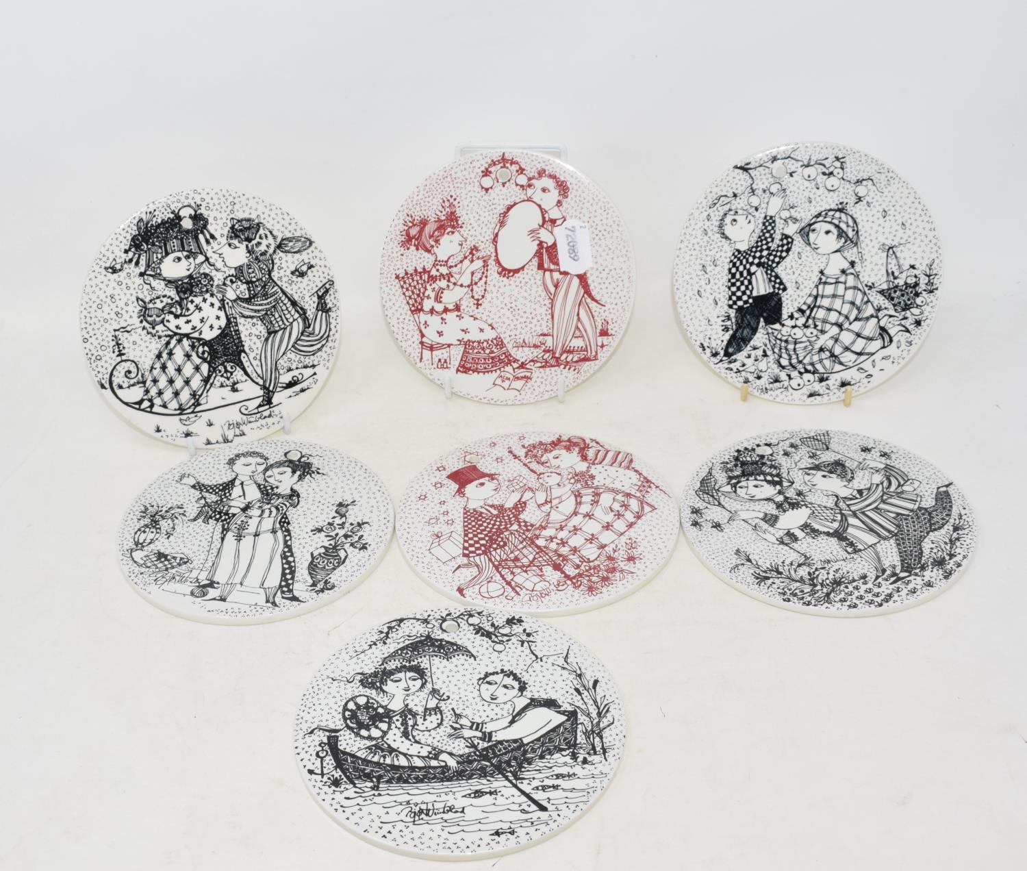Lot 9 - A set of twelve Nymolle pottery plaques, months of the year, designed by Bjorn Wiinblad, one chipped