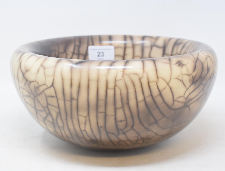 Lot 23 - A John Nuttgens crackle glaze bowl, 26 cm diameter