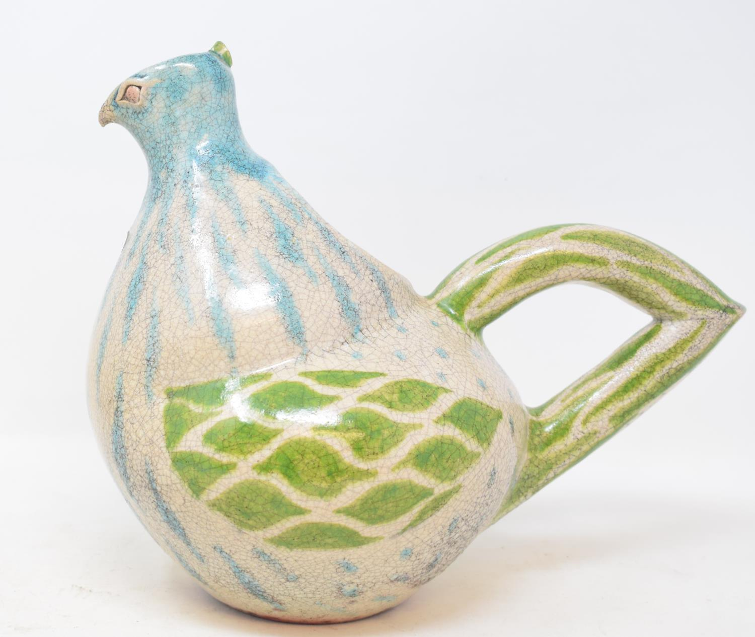 Lot 22 - A Mick Morgan studio pottery jug, in the form of a bird, 24 cm high