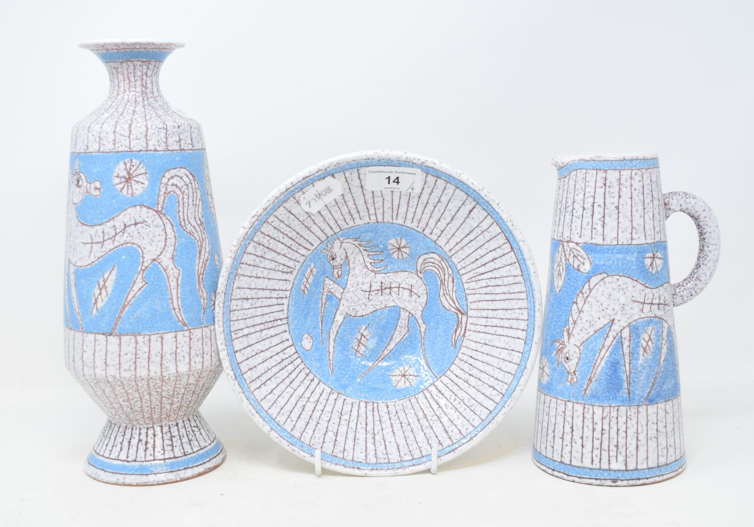 A Japanese Satsuma vase and cover, decorated figures, with a Dog of Fo finial, 40 cm high, and three - Image 2 of 2