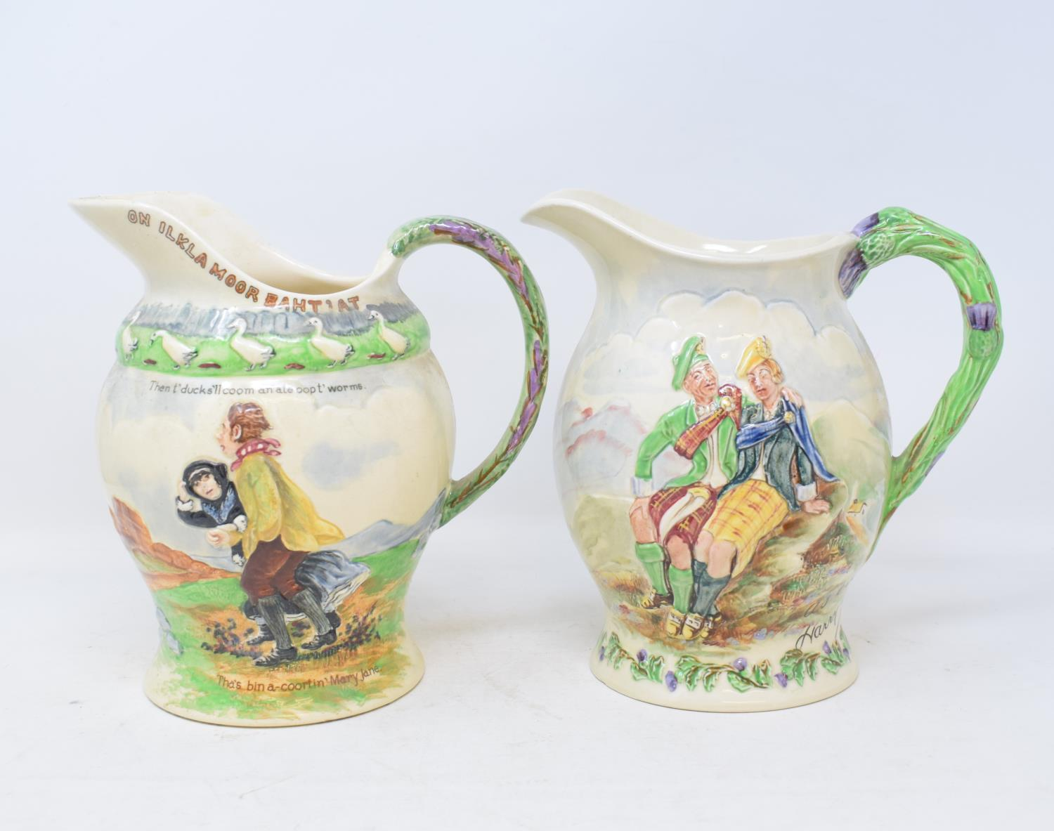 Lot 50 - A Crown Devon Roamin' In The Gloamin musical jug, 20 cm high, another, On Ilkla More Baht'at, a