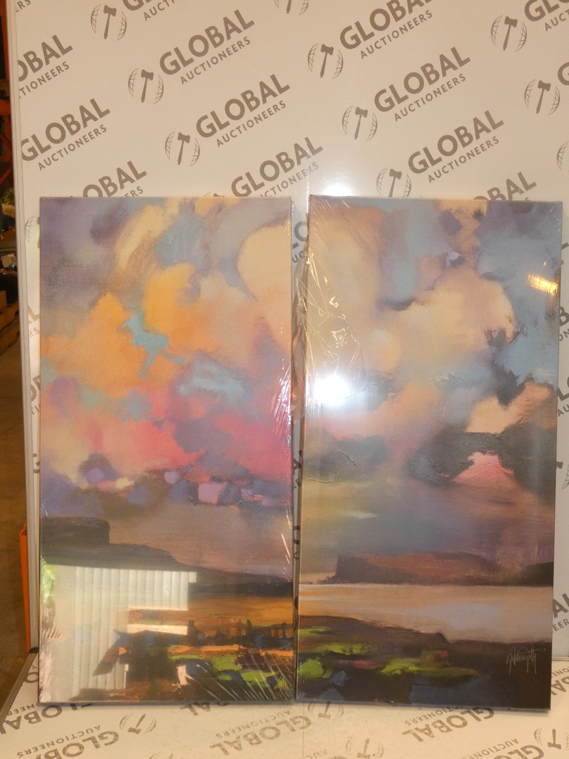 Distant Cottage Triptic Canvas Wall Art Picture RRP £120 (8260)