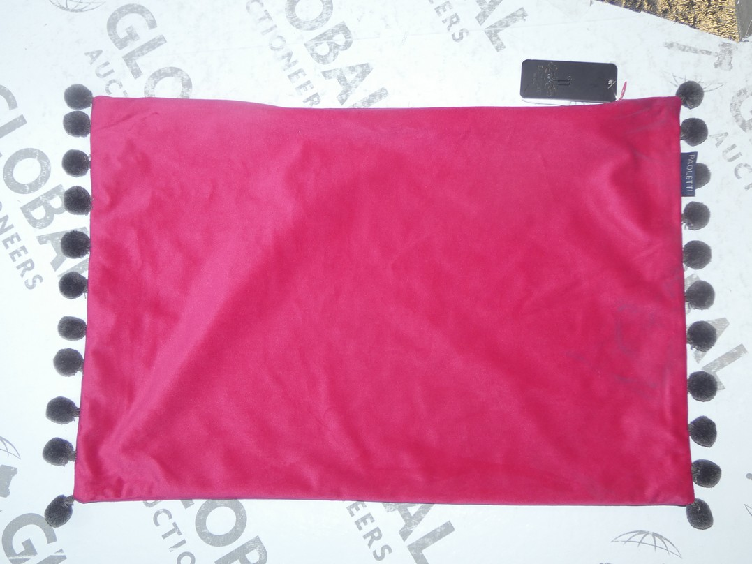 Lot 42 - Lot to Contain 4 Paoletti Hot Pink and Sage Green Scatter Cushion Covers (15001613)(11238)