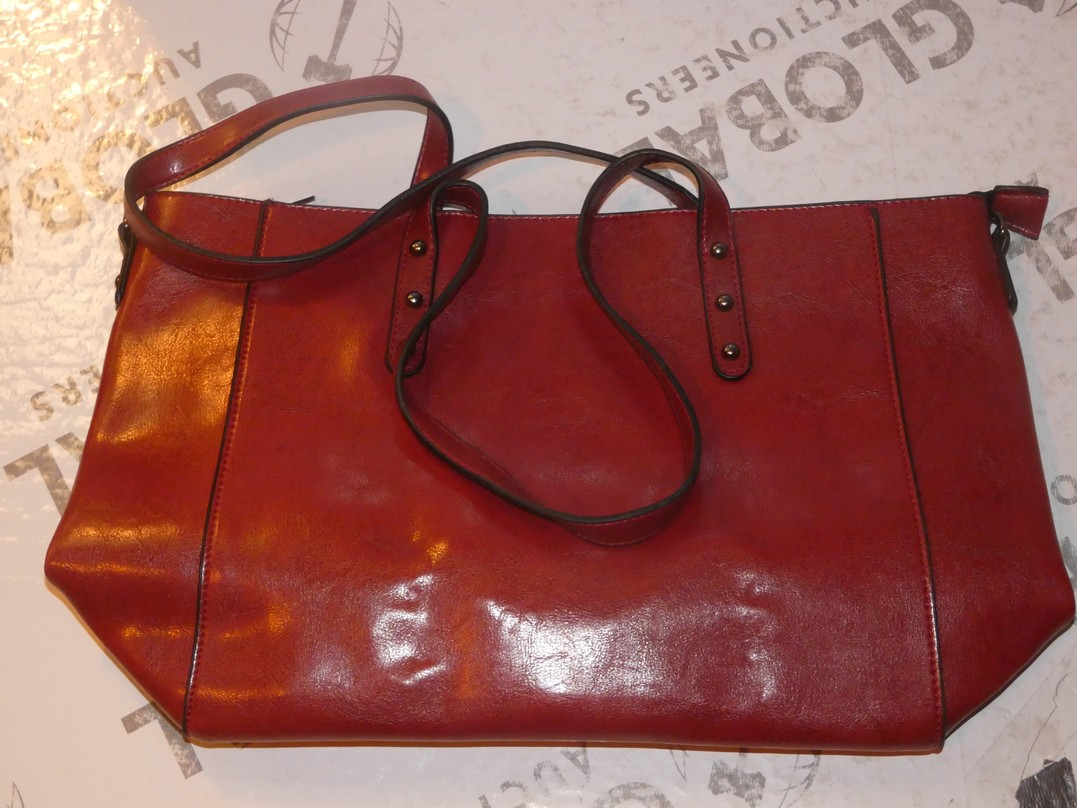 Lot 113 - Brand New Women's Coolives Oxblood Red Leather Designer Shoulder Bag RRP £50